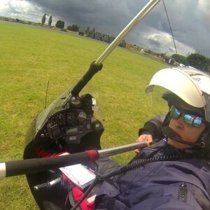 ready for 1st solo cross country, Somerset, UK, 2014
